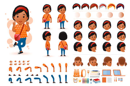 Little Black African Girl Student Character Creation Kit Template with Different Facial Expressions, Hair Colors, Body Parts and Accessories. Vector Illustration.