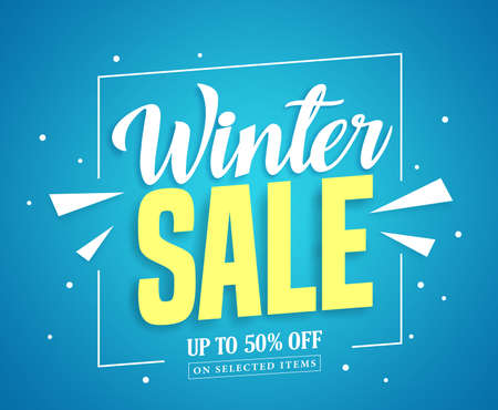 discount banner: Winter sale banner design with sale up to 50% off for winter season marketing promotion.