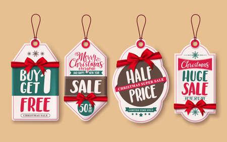크리스마스 판매 가격 태그 벡터 빨간색 리본 및 크리스마스 시즌 소매 승진에 매달려 할인 프로 모션 설정합니다. 벡터 일러스트 레이 션. 일러스트