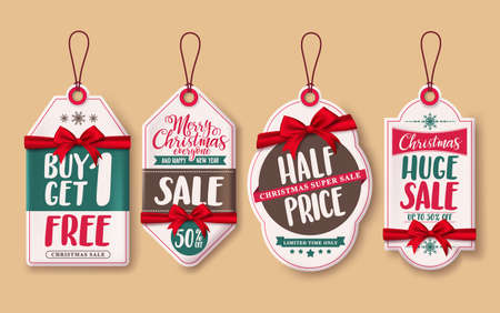 Christmas sale price tags vector set with red ribbons and discount promotions hanging for christmas season retail promotion. Vector illustration. Illustration