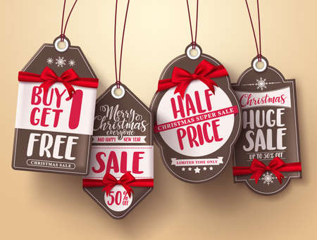 half price: Christmas sale tags vector set with red ribbon and different greeting, sale and discount text for christmas holiday shopping promotions. Vector illustration. Illustration