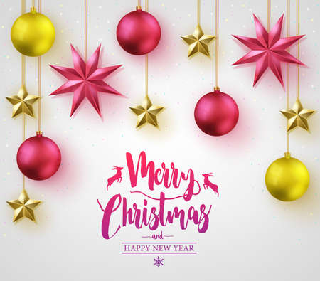Merry Christmas Caligraphy with Simple 3D Different Colored Christmas Balls and Stars Hangging Poster on White Vignette Background for Holiday Season. Vector Illustration