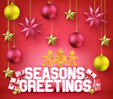 Seasons Greeting 3D Typography Decorative Poster for Christmas Holiday with Gingerbread Man and Christmas Tree Cookie on Red Background with Stars, Balls and Gifts. Vector Illustration