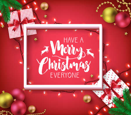 Have A Merry Christmas Everyone Greeting Typography Poster Inside of 3D Frame on Red Vignette  Background with Christmas Lights, Balls and Gifts for Holiday Season. Vector Illustration