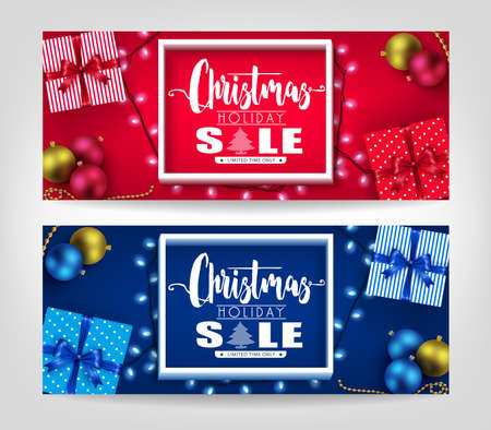 Christmas holiday sale realistic banners set with christmas ornaments and lights promotional design.