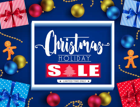 Christmas oliday Sale Realistic Poster Design in Blue Background for Holiday Promotional Design. Illustration