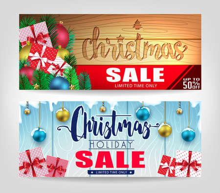 Christmas Sale Banners Set with Different Designs on Wooden Background Promotional Design For Holiday Season. Ilustrace