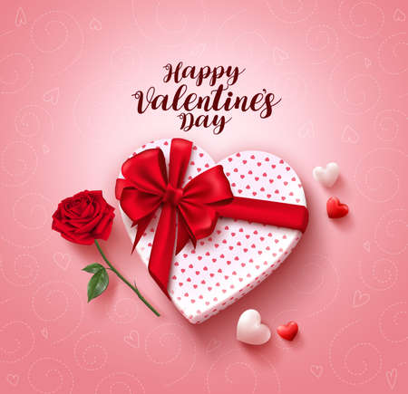 happy valentines day greeting card vector design with love gift lasso rose flower and negle Choice Image