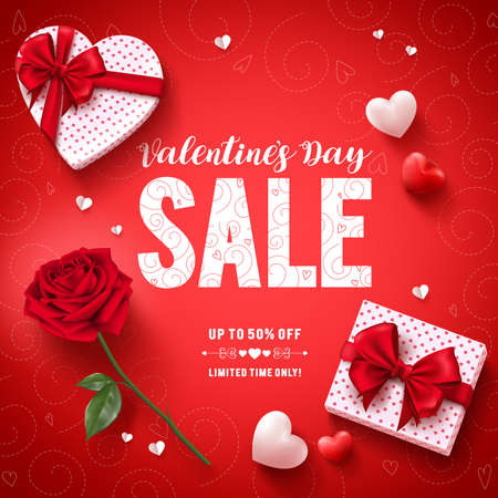 Valentines day sale text vector banner design with love gifts, rose and hearts in red pattern background for valentines day discount promotion. Vector illustration.