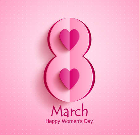 Happy womens day vector banner design with March 8 text and paper cut heart in pink pattern background for international womens day celebration.