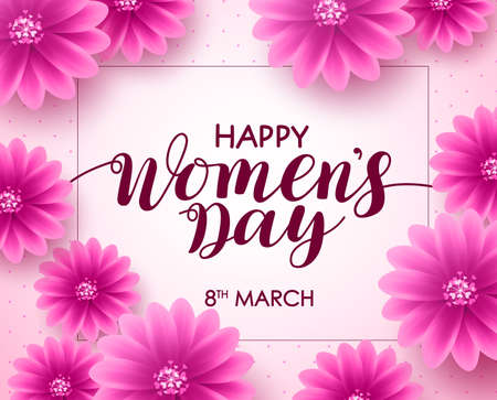 Happy womens day vector background design with march 8 text, pink flowers and boarder for international womens day celebration.