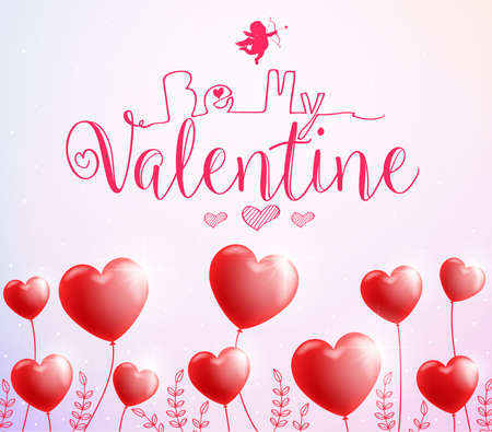 Be My Valentine Poster with Red Heart Balloons for Valentines Day. Vector Illustration. Illustration