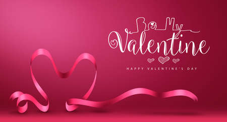 Be My Valentine Banner with Heart Vector Happy Valentines Day Greeting in Magenta Background. Vector Illustration.