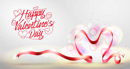 Happy Valentines Day Greeting Banner with Red Heart Shaped Ribbon. Vector Illustration. Ilustrace