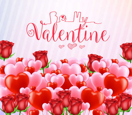 Be My Valentine Greeting Poster with Lots of Red and Pink Hearts and Flowers. Vector Illustration. Illustration