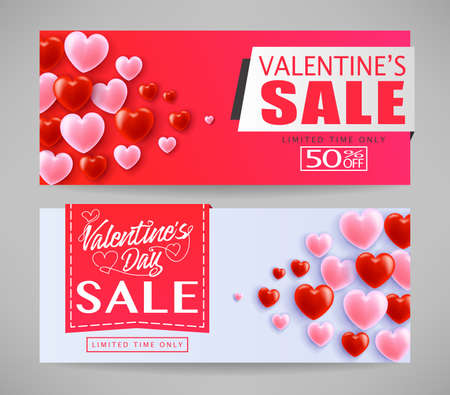 Lovely Valentines Day Sale Banners With Hearts in Gray  Background For Promotional Purposes. Vector Illustration Set.