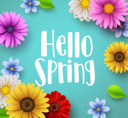 Witaj wiosna tekst wektor pozdrowienia banner z elementami kolorowymi kwiatowymi, takimi jak stokrotka i słonecznik w zielonym tle kwiatów na sezon wiosenny. Ilustracji wektorowych.