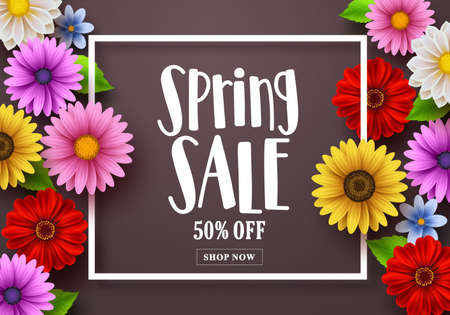 Spring sale text in a background vector template with colorful various flowers, a boarder frame and elements for spring season shopping discount promotion. Vector illustration.
