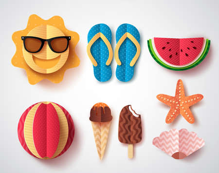 Summer vector elements set with paper cut flat folding style of sun, flipflops ice cream, watermelon and starfish isolated in white background vector illustration.