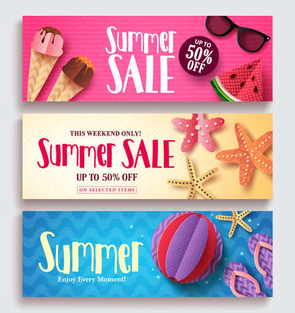 Summer sale vector banner set with colorful pattern background and paper cut beach elements. Seasonal template set for discount promotion vector illustration.