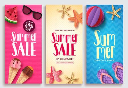 Summer sale vector poster design set with sale text. Beach paper cut elements in colorful pattern backgrounds for summer seasonal discount promotion. Vector illustration. Ilustração