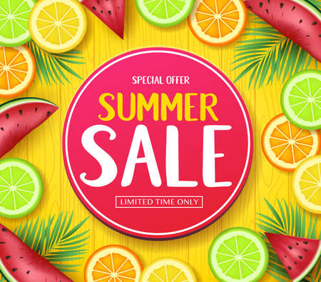 Special Offer Summer Sale in Circle Tag Poster with Tropical Fruits Such as Orange, Lime, Lemon and Watermelon in Yellow Wood Background Illustration