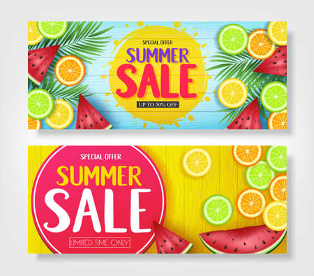 Fruity Summer Sale Colorful Banners with Watermelon, Orange, Lime and Lemon Tropical Fruits in Blue and Yellow Wooden Background Vector Illustration.  イラスト・ベクター素材