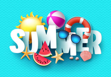 Summer 3d text banner design with colorful tropical beach elements in blue pattern background.