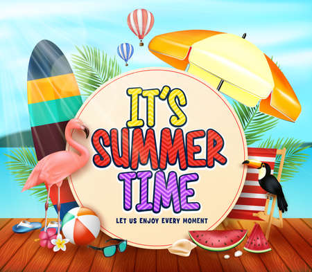 Its Summer Time with Yellowish Circle for Text with Palm Leaves, Umbrella.