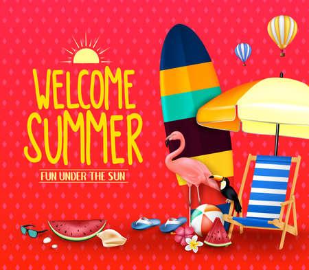 Welkom zomerplezier onder de zon Poster met paraplu, surfplank, flamingo, toekan, watermeloen, strandbal. Stockfoto - 97892896