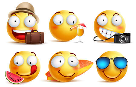 Summer smileys vector set with facial expressions. Yellow smiley face emoticons with summer vacation and travel outfits and elements isolated in white background vector illustration.