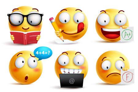 Vector de cara sonriente para regreso a la escuela con expresiones faciales y actividades escolares de estudiantes aislados en fondo blanco. Emoticones amarillos ilustración vectorial.