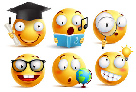 Smiley face student vector emoticons set with facial expressions and studying school activities isolated in white background. Back to school vector icons.