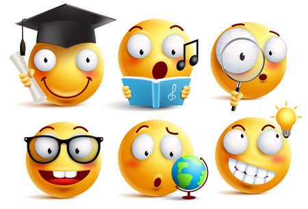 Smiley gezicht student vector emoticons instellen met gezichtsuitdrukkingen en het bestuderen van schoolactiviteiten geïsoleerd op een witte achtergrond. Terug naar school vector iconen.