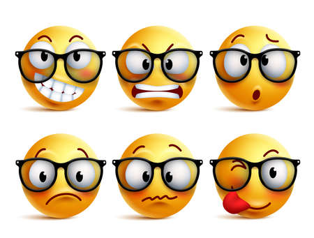 Smileys vector set of yellow nerd emoticons with eyeglasses and funny facial expressions isolated in white background. Ilustracja
