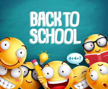 Retour à la conception de vecteur de smileys scolaires. Émoticônes d'étudiants jaunes avec des expressions faciales étudient en arrière-plan vert tableau noir pour l'éducation. Illustration vectorielle.