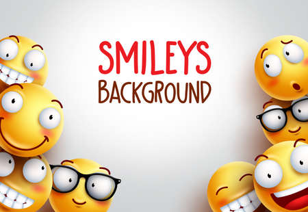 Smiley vector background design with yellow emoticons of funny and happy facial expressions in empty white space background for text. Vettoriali