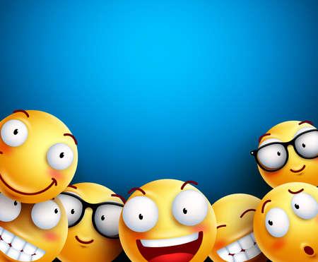 Ilustracja wektorowa tło buźkę. Żółte emotikony lub buźki z zabawnymi i szczęśliwymi wyrazami twarzy na pustym, pustym niebieskim tle dla tekstu lub prezentacji.