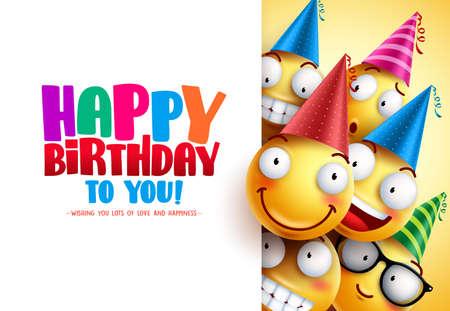 Progettazione di saluto di vettore di compleanno di smiley con le emozioni divertenti e felici gialle che indossano i cappelli variopinti del partito e buon compleanno mandano un sms a nel fondo bianco vuoto. Illustrazione vettoriale