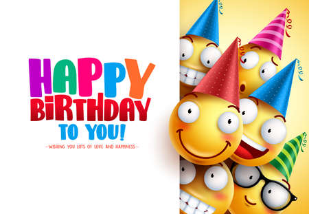 Smileys birthday vector greeting design with yellow funny and happy emotions wearing colorful party hats and happy birthday text in white empty background. Vector illustration.