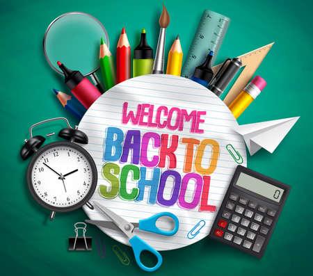 Bienvenido de nuevo a la bandera del vector de la escuela con útiles escolares, elementos educativos y texto colorido en papel blanco con textura en fondo verde. Ilustración vectorial