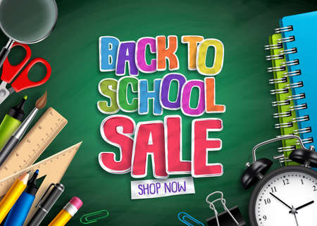 Back to school sale vector banner design with sale text, school elements and education items in green background for discount promotion. Vector illustration.