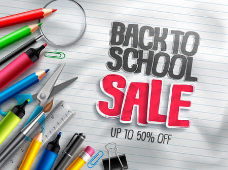 Back to school vector banner education discount promotion with sale text and colorful school items in white paper textured background. Vector illustration.