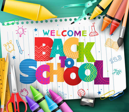 Colorful patterned back to school text in a piece of white paper with hand drawn doodle and school supplies on green chalkboard background. Vector illustration