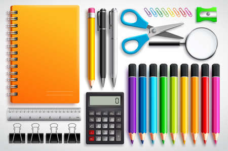 School supplies vector set with color pencils notebook, pens and office supplies in white background. Education elements for back to school design. Vettoriali