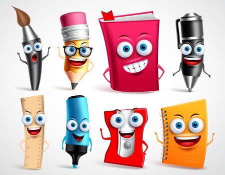 Schulcharakter-Vektorillustrationssatz. Bildungsgegenstände 3D-Cartoon-Maskottchen wie Bleistift und Buch für Schulanfangselemente lokalisiert im weißen Hintergrund.