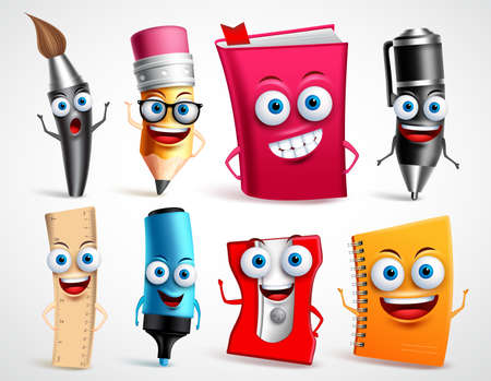 School characters vector illustration set. Education items 3D cartoon mascots like pencil and book for back to school elements isolated in white background.