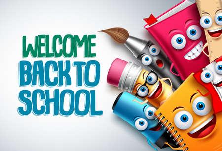 Volver a la plantilla de fondo de personajes de vector de escuela con divertidas mascotas de dibujos animados de educación como lápiz y libro y espacio en blanco para texto. Ilustración vectorial.