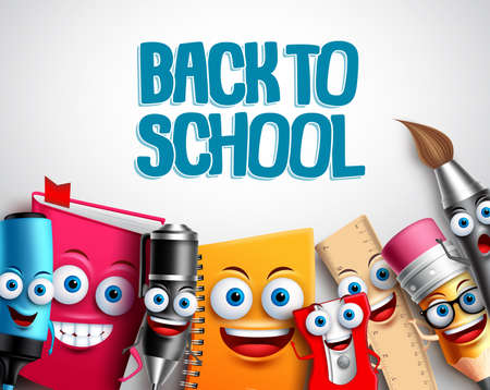 Back to school vector characters background template with colorful funny school cartoon mascots like pencil and book and white space for educational text. Vector illustration. Иллюстрация