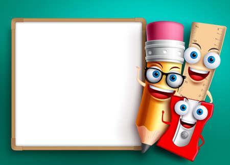 Powrót do szkoły szablon tło wektor. Śmieszne postacie szkolne i przedmioty edukacyjne, takie jak tablica z pustym miejscem na tekst. Ilustracji wektorowych.